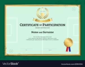 Certificate Template In Football Sport Theme With for Football Certificate Template