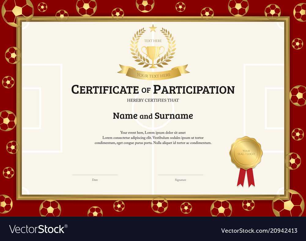 Certificate Template In Football Sport Theme With Within Football Certificate Template