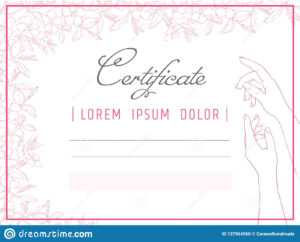 Certificate Template Manicure And Nail Design. Diploma Spa for Nail Gift Certificate Template Free