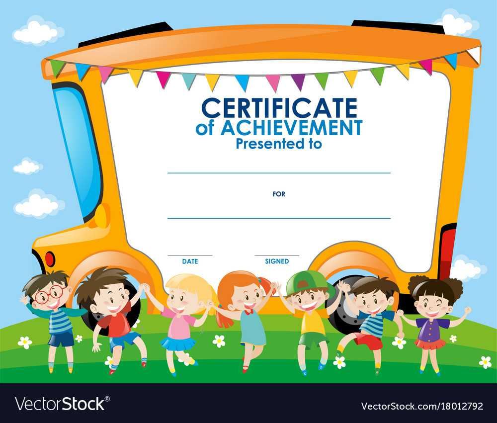 Certificate Template With Children And School Bus Within Certificate Templates For School