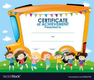 Certificate Template With Children And School Bus within Free School Certificate Templates
