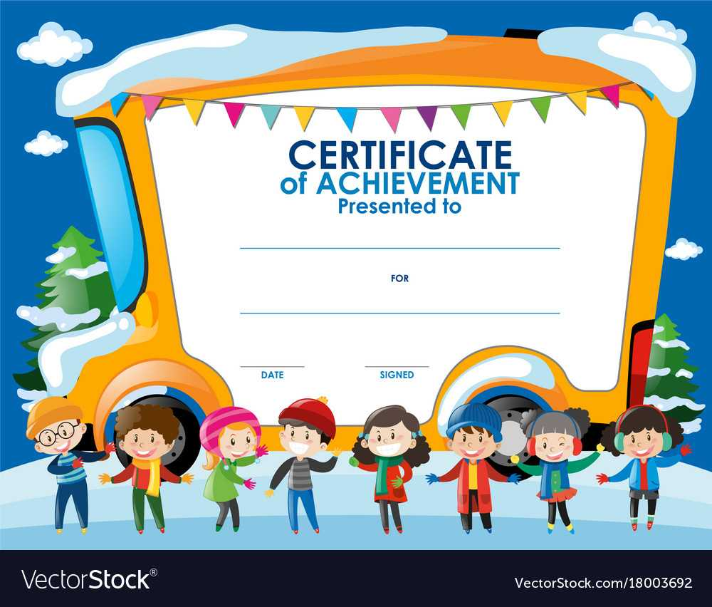 Certificate Template With Children In Winter With Regard To Children's Certificate Template