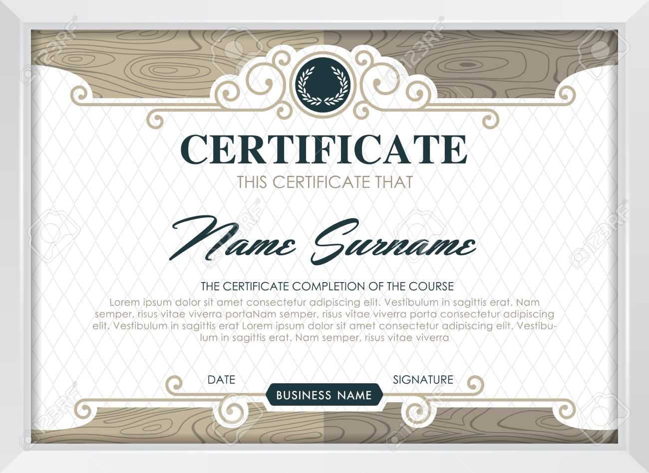 Certificate Template With Clean And Modern Pattern, Luxury  Golden,qualification.. For Qualification Certificate Template