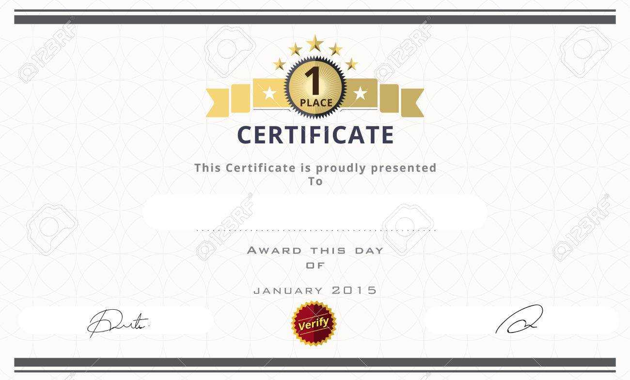Certificate Template With First Place Concept. Certificate Border.. Inside First Place Certificate Template