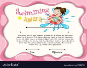 Certificate Template With Girl Swimming pertaining to Free Swimming Certificate Templates