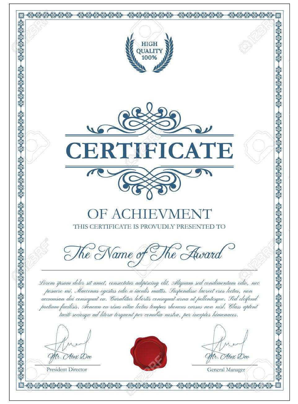 Certificate Template With Guilloche Elements. Blue Diploma Border.. Throughout Validation Certificate Template