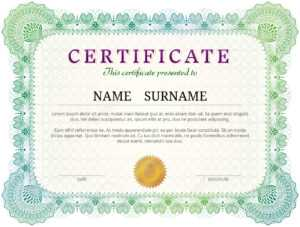 Certificate Template With Guilloche Elements. Green Diploma Border.. with regard to Validation Certificate Template