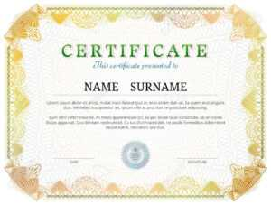 Certificate Template With Guilloche Elements. Yellow Diploma.. for Validation Certificate Template