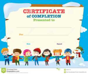 Certificate Template With Happy Children In Winter Stock in Basketball Camp Certificate Template