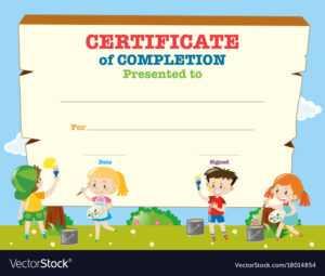 Certificate Template With Happy Children regarding Free Kids Certificate Templates