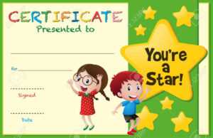 Certificate Template With Kids And Stars Illustration regarding Star Award Certificate Template