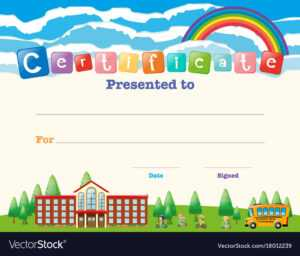 Certificate Template With Kids At School within Free School Certificate Templates