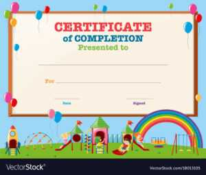 Certificate Template With Kids In Playground for Free Printable Certificate Templates For Kids