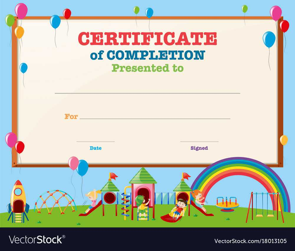 Certificate Template With Kids In Playground With Regard To Children's Certificate Template