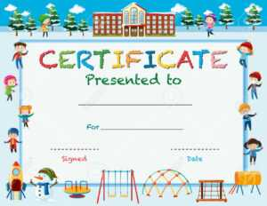 Certificate Template With Kids In Winter At School Illustration for Certificate Templates For School