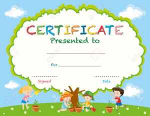 Certificate Template With Kids Planting Trees Illustration in Free Kids Certificate Templates