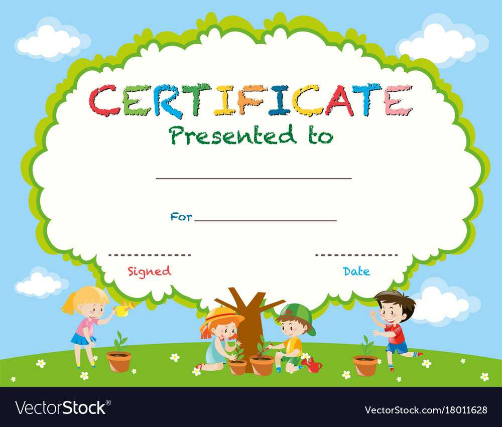 Certificate Template With Kids Planting Trees Intended For Children's Certificate Template