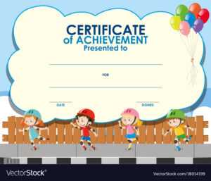 Certificate Template With Kids Skating inside Free Kids Certificate Templates