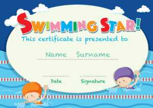 Certificate Template With Kids Swimming – Download Free pertaining to Free Swimming Certificate Templates
