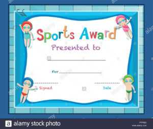 Certificate Template With Kids Swimming Illustration Stock regarding Swimming Award Certificate Template