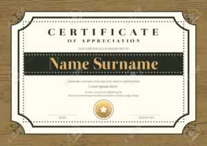Certificate Template With Vintage Frame On Wooden Background for Commemorative Certificate Template