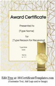 Certificate Templates intended for Free Printable Blank Award Certificate Templates