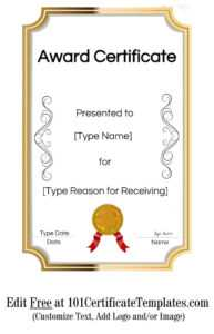 Certificate Templates throughout Printable Certificate Of Recognition Templates Free