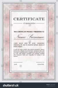 Certificate Vector Template Guilloche Frame Ornamental Stock regarding Mock Certificate Template