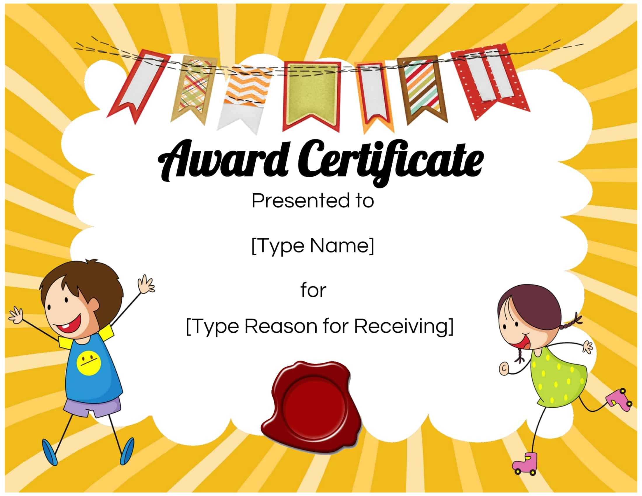 Certificates For Kids For Children's Certificate Template