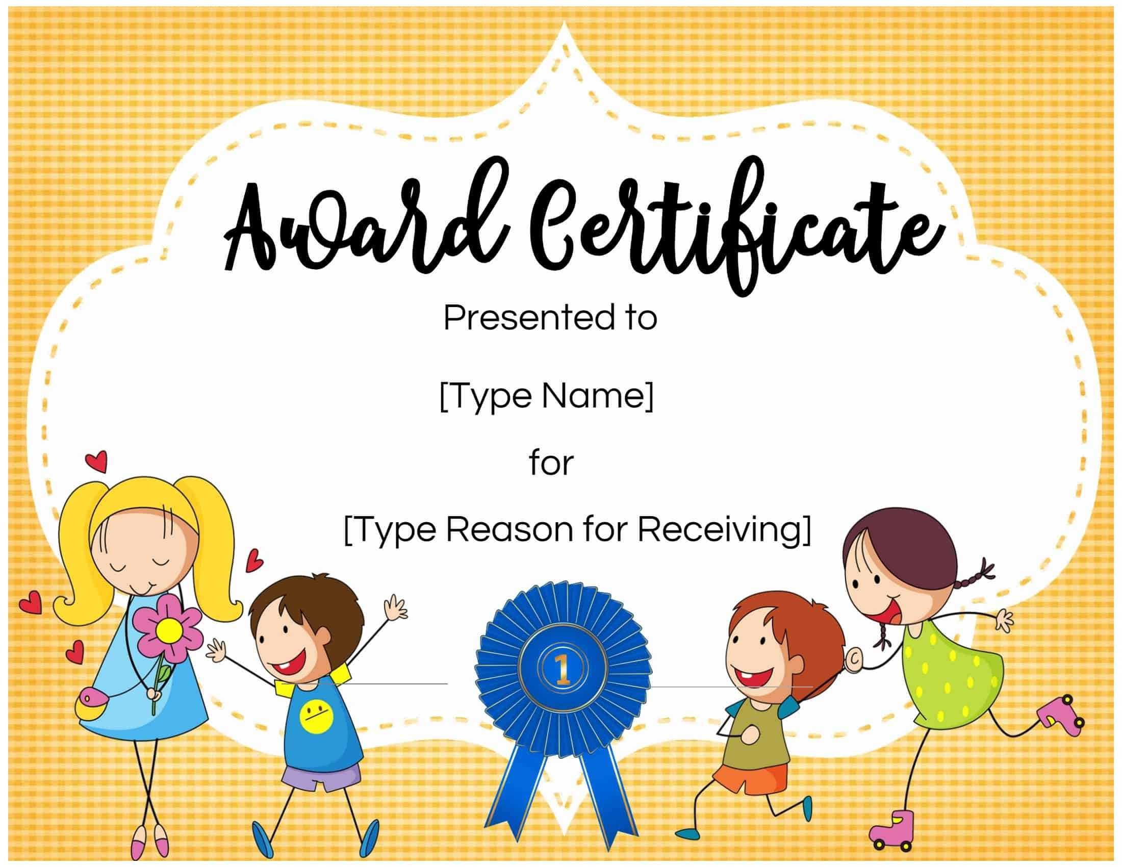 Certificates For Kids Throughout Children's Certificate Template