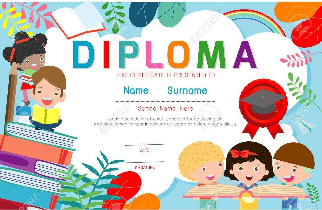 Certificates Kindergarten And Elementary, Preschool Kids Diploma.. With Children's Certificate Template