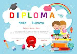 Certificates Kindergarten And Elementary, Preschool Kids Diploma.. with regard to Preschool Graduation Certificate Template Free