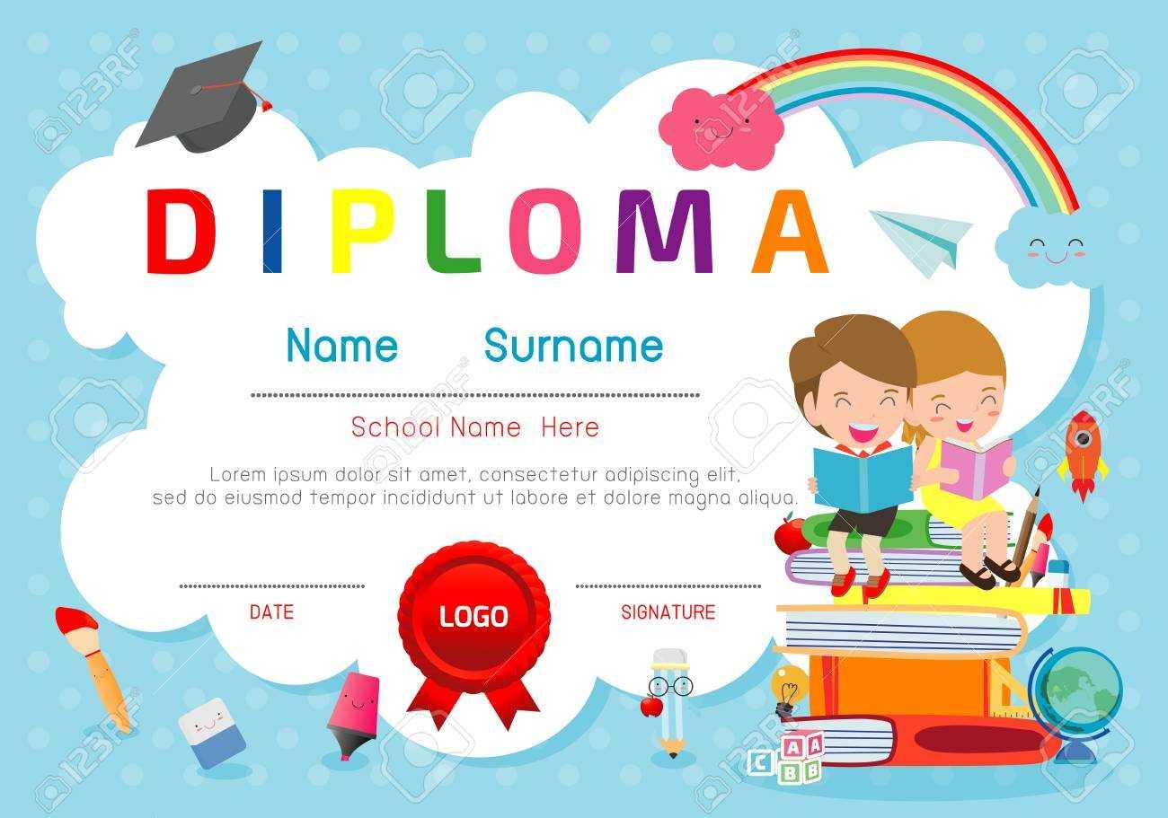 Certificates Kindergarten And Elementary, Preschool Kids Diploma.. With Regard To Preschool Graduation Certificate Template Free