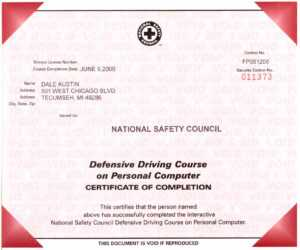 Certificates with Safe Driving Certificate Template