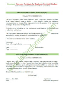 Character Certificate For Employee / Govt Job / Student (Sample) in Good Conduct Certificate Template