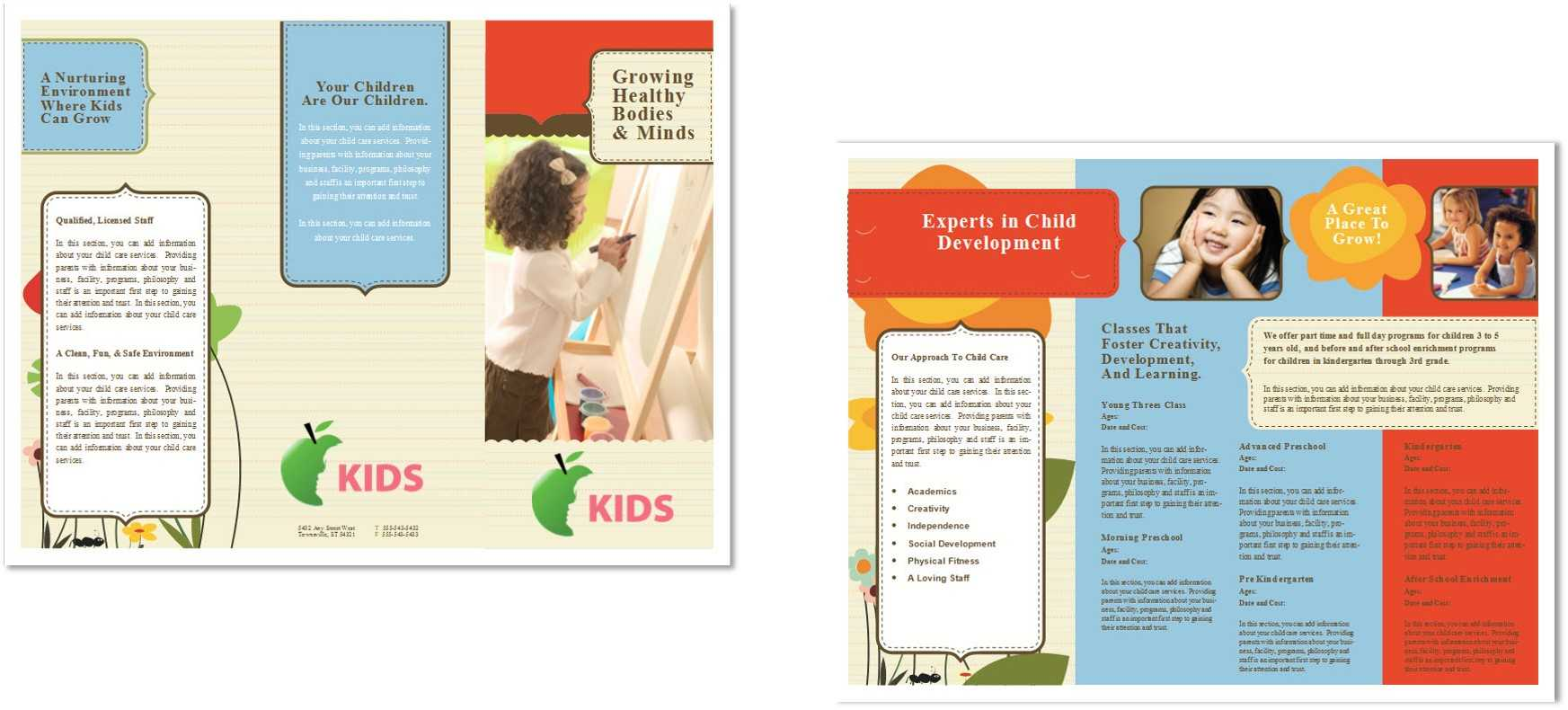 Child Care Brochure Template 6 In Daycare Brochure Template