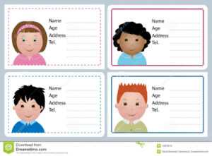 Children Name Card Stock Vector. Illustration Of Horizontal in Id Card Template For Kids