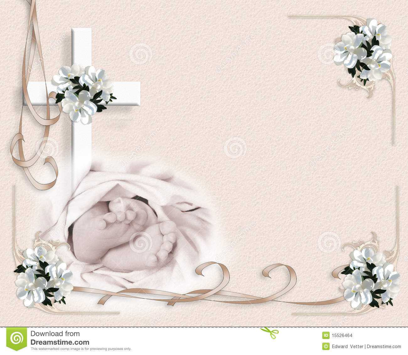 Christening Baptism Invitation Stock Illustration Intended For Free Christening Invitation Cards Templates