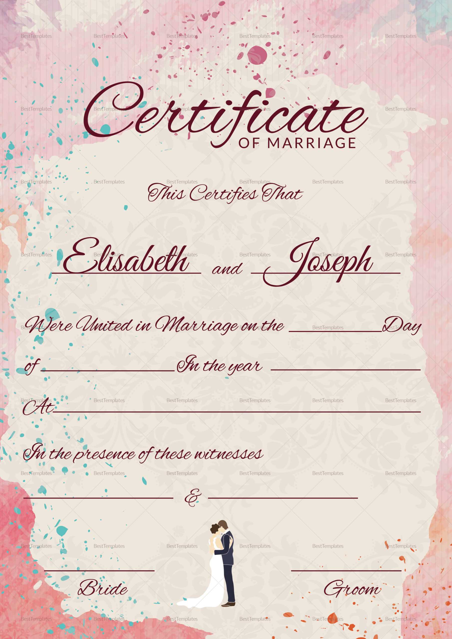 Christian Marriage Certificate Template Regarding Certificate Of Marriage Template