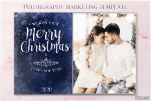 Christmas Card Template, Photoshop Template 5X7 Flat Card for Christmas Photo Card Templates Photoshop
