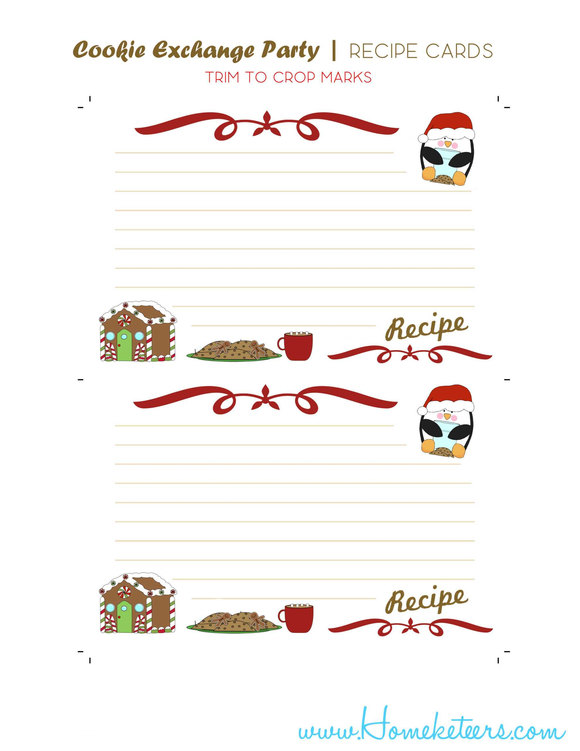 Christmas Cookie Exchange Printables Penguin Theme ~ Free Within Cookie Exchange Recipe Card Template