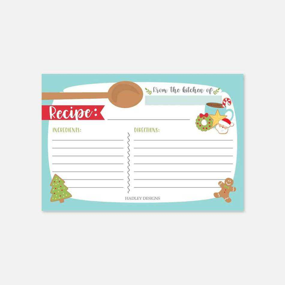 Christmas Cookie Exchange Recipe Card Template With Regard To Cookie Exchange Recipe Card Template