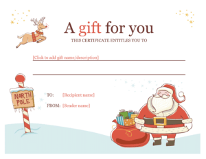 Christmas Gift Certificate – Download A Free Personalized intended for Christmas Gift Certificate Template Free Download