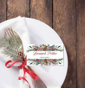 Christmas Place Cards Printable Template, Editable Names inside Christmas Table Place Cards Template