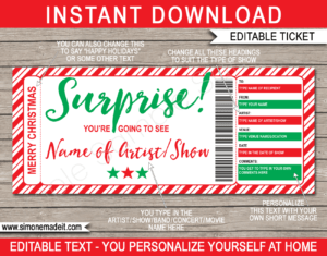 Christmas Surprise Concert Ticket Gift regarding Movie Gift Certificate Template