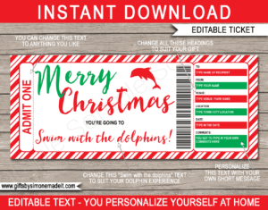 Christmas Swim With The Dolphins Gift Certificate inside Merry Christmas Gift Certificate Templates