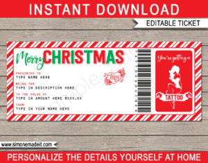 Christmas Tattoo Gift Vouchers intended for Tattoo Gift Certificate Template
