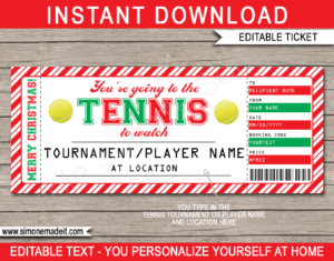 Christmas Tennis Gift Tickets inside Tennis Gift Certificate Template