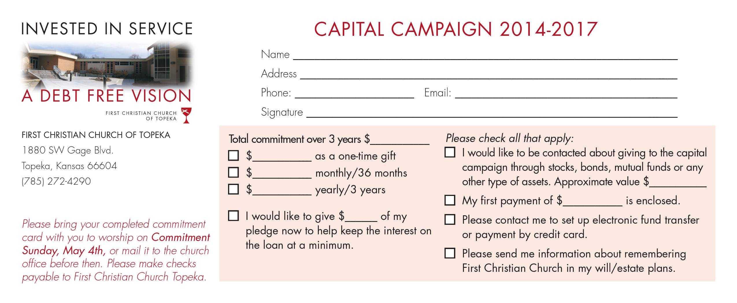 Church Capital Campaign Pledge Card Samples Within Church Pledge Card Template