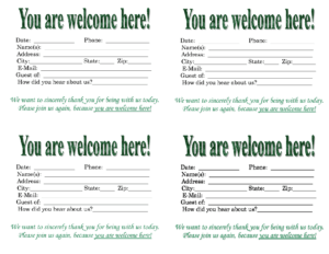 Church Quotes For Welcoming Guests. Quotesgram inside Church Visitor Card Template Word